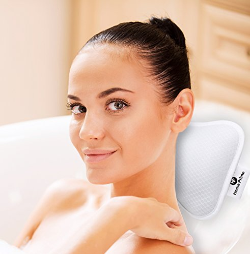 Caddy Store Hot Tub Spa (Home Prime Non-Slip Spa BATH PILLOW Fits Any Bathtub / Hot Tub / Jacuzzi with 2 Strong Suction Cups - Large & Soft, Shoulder & Neck Support. With a LOOFAH SPONGE.)