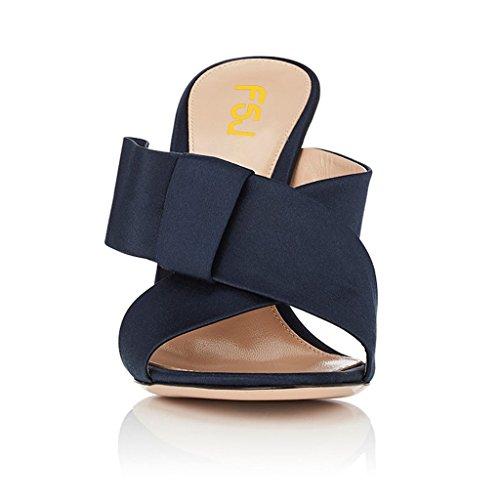 Fsj Femmes Ouvert Orteil Mule Sandales Glisser Chunky Hauts Talons Avec Arc Croiser Sangle Chaussures Taille 4-15 Us Noir