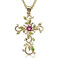 """Angelady"""" God We Trust"""" Cross Pendant Necklace with Gold Plated,Pink Crystal from Swarovski,Gifts for her"""