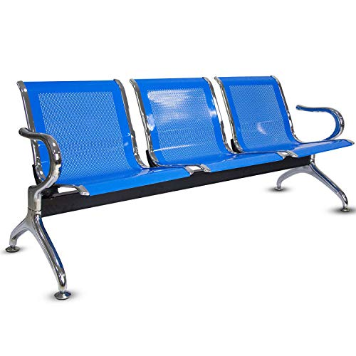 3 Seat Guest Chair - Airport Office Reception Waiting Area Bench Guest Chair Room Garden Salon Barber Bench (Blue, 3-Seat)