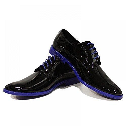 Blue & Black Patent Leather ElŽgant Chaussures Hommes - Handmade Colorful italiennes Chaussures en cuir Oxfords Casual formelle haut de gamme uniques Chaussures Vintage Gift Lace Up Robe Hommes