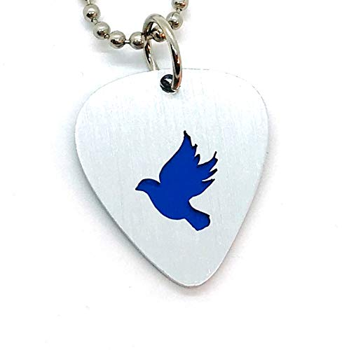 - Dove Necklace Jewelry or Key Chain Made From Guitar Picks
