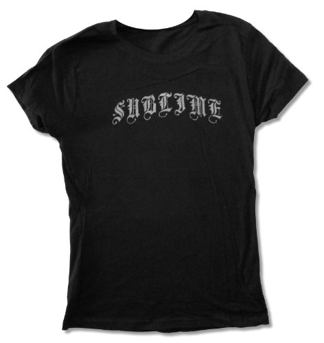 Juniors Sublime Classic Silver Logo on Black Baby Doll T-Shirt (Medium)
