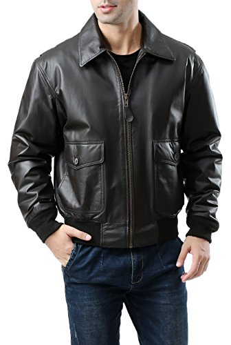 Landing Leathers Men's G-2 Leather Flight Bomber Jacket - M Black