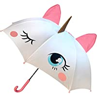 Unicorn Umbrella for Kids, Easy To Open & Close, Magical POP-OUT Golden Horn & Pink Ears with 3D Mane, Great Gift for Girls of all ages!