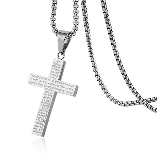 HZMAN Mens Carved Jesus Christ Cross Lord's Prayer Stainless Steel Pendant Necklace -