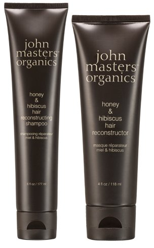 John Masters Organics Honey and Hibiscus Hair Reconstructing Shampoo and Honey and Hibiscus Hair Reconstructor Bundle with Soy Protein and Beech Bud Extract, 6 fl. oz. and 4 fl. oz. (Honey John Masters Organics)