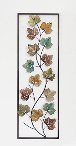 (New All American Collection Flower and Leaves Aluminum/Metal Wall Decor with Frame 12