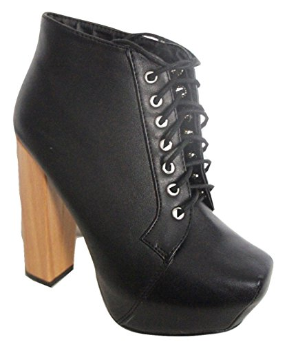 High Platform Chunky Block Heel Lace Up Ankle Boot Retro Shoe Black