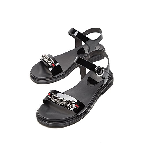 Sandalias de Altos de 36 de Sandalias Ocasionales Dulces de Planas Mujer Sandalias Verano Moda Tacón bajo de Color DHG Tacones Sólido Negro de Zapatillas Punta w7ZFXqf