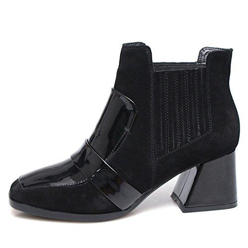 Nio Sju Äkta Läder Womens Fyrkantig Tå Chunky Klack Slip På Affärer Handgjorda Elegant Boots Svart