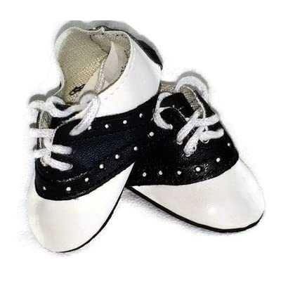 Doll Shoes fit American Girl Doll and Other 18 Inch Dolls Black and White Saddle Shoes: Toys & Games