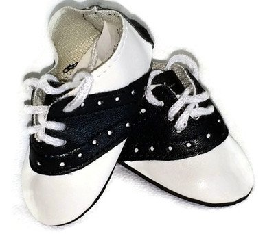 Doll Shoes fit American Girl Doll and Other 18 Inch Dolls Black and White Saddle Shoes