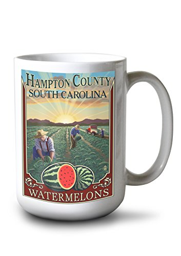Hampton Bedroom South - Lantern Press Hampton County, South Carolina - Watermelon Field (15oz White Ceramic Mug)