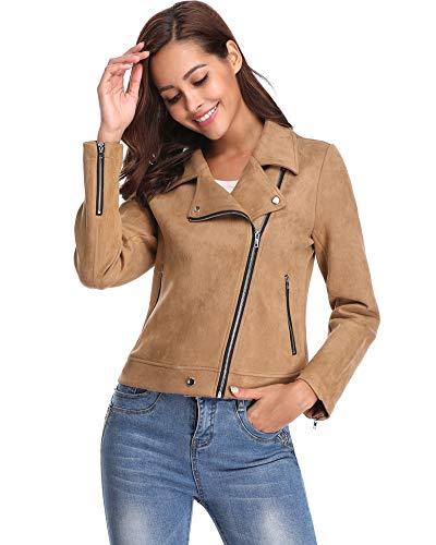 Argstar Women's Faux Suede Jacket Causal Lapel Long Sleeves Zip Closure Short Biker Coat w Pockets Clearence