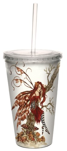 Amy Brown Fantasy Art - Tree-Free Greetings cc33537 Fantasy Autumn Daydream Fairy Artful Traveler Double Walled Cool Cup with Reusable Straw by Amy Brown, 16-Ounce