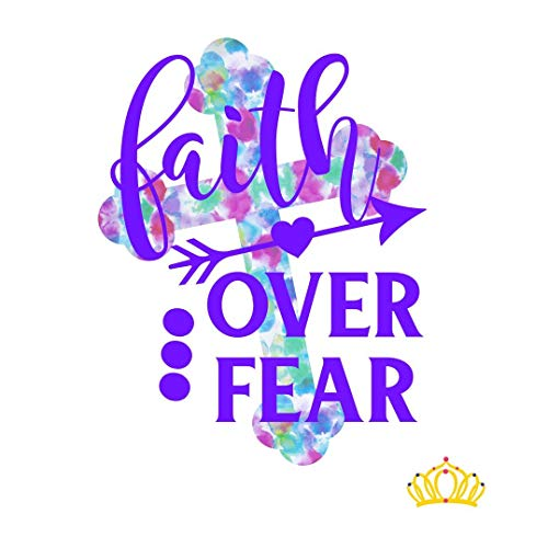Faith Over Fear Vinyl Decal for Tumbler, Laptop, or Car, Bible Verse Christian Decal by Dash of Flair