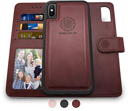 Shields Up iPhone Xs Max Wallet Case, [Detachable] Magnetic Wallet Case, Durable and Slim, Lightweight with Card/Cash Slots, Wrist Strap, [Vegan Leather] Cover for Apple iPhone Xs Max Case -Brown