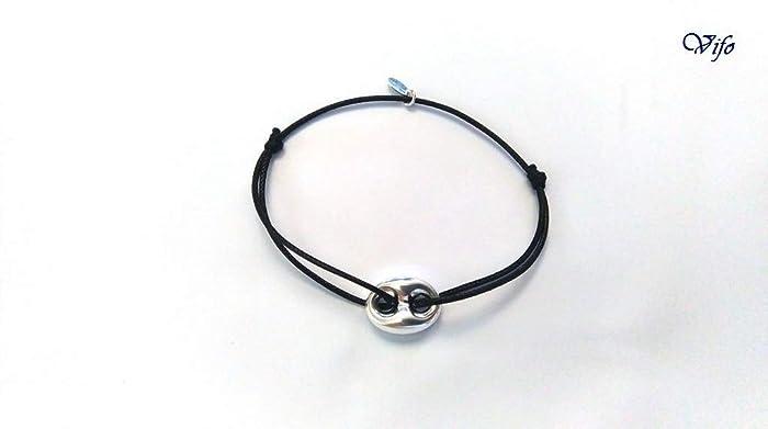 meilleur pas cher 1281b 03fef Bracelet nœuds coulissants noir, Bracelet cordon Grain de café argent 925,  Homme Femme Ado, réglable