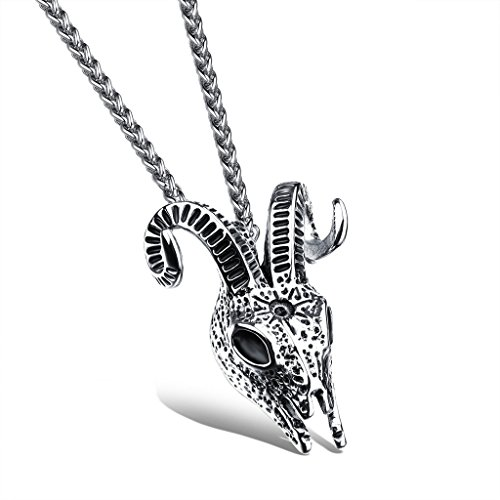 JSEA S-Mens Stainless Steel Necklace Rams Head Argali Sheep Skull Pendant