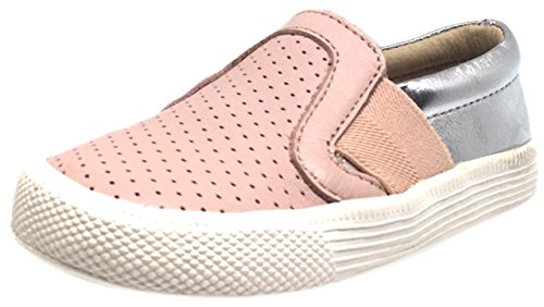 Powder Pink Kids Shoes (Old Soles Boy's and Girl's Perforated Powder Pink Silver Leather Praise Hoff Slip On Loafer Sneaker 26 M EU/9.5 M US)