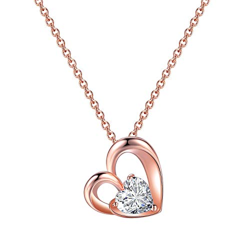 ORANGELOVE 18K Rose Gold Plated Jewelry Love Mom Necklace Chain Pendant (Heart-Rose Gold Plated)