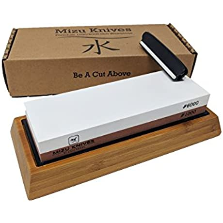 Mizu 1000 6000 Grit Premium Whetstone Knife Sharpening Stone Set Ideal Sharpener For All Blades Japanese Style Waterstone With Non Slip Bamboo Base Includes Angle Guide Instructions