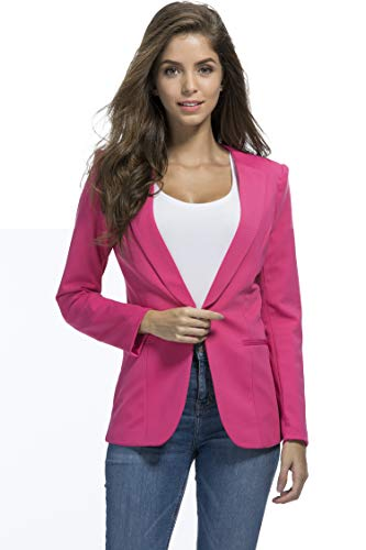 JHVYF Womens Casual Basic Work Office Cardigan Tuxedo Summer Blazer Open Front Boyfriend Jacket Pink Tag 4XL/US 12 ()