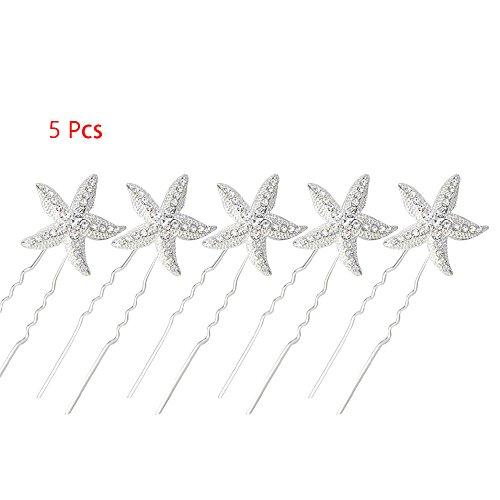 Top Crystal Rhinestone Starfish Bridal Wedding Party U-shaped Hair Pin Hair Clip Wedding Accessory (5 pcs) for sale