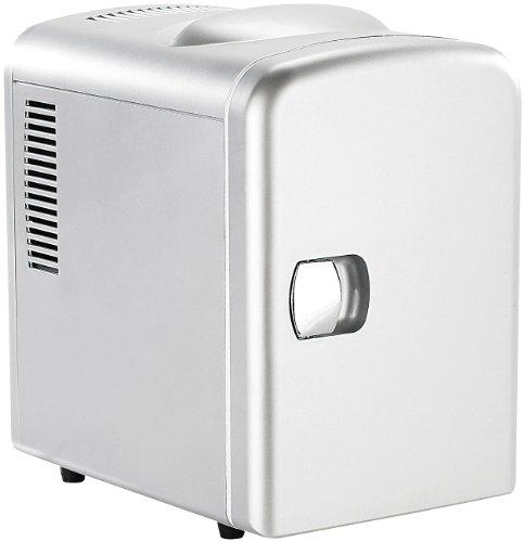Rosenstein & Söhne Mini-Kühlschrank AC/DC, 12/230V 4l, mit Warmhalte-Funktion, silber