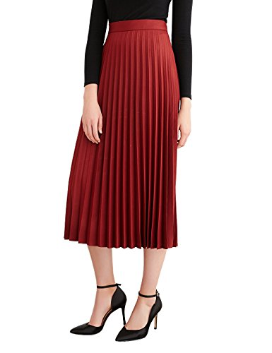 Simple Retro Women's Pleated Skirt Midi A Line High Waist Skirt,Dark Wine Red,X-Small Pleated Skirt