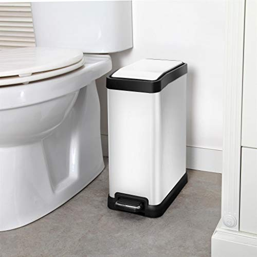 Home Zone Rectangular Step Trash Can - 2 Gallon/ 8 Liter Stainless Steel Waste Bin, White (VA41313A) by Home Zone (Image #7)