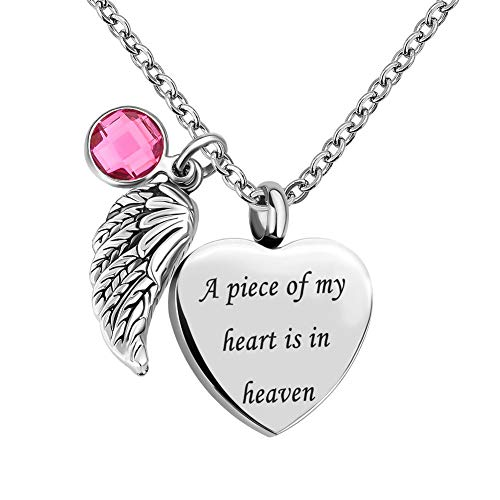 Infinite Memories - A Piece of My Heart is in Heaven - Angel Wing Love Heart Crystal Urn Necklace Ashes Pendant OCT. Birthstone