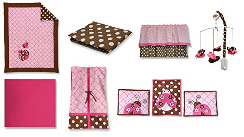 Bacati Ladybugs 10 Piece Crib Bedding Set with 2 Crib Fitted Sheets, Pink/Chocolate