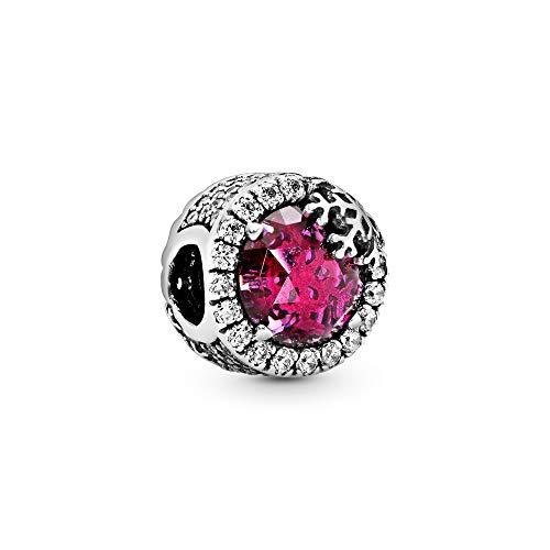 Pandora Jewelry - Dazzling Snowflake Charm in Sterling Silver with Cerise Crystal and Clear Cubic Zirconia