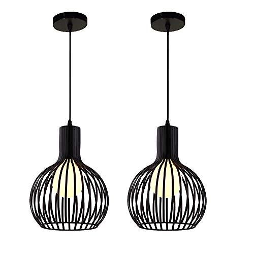 2 pcs Lámpara Colgante de Jaula Industrial Vintage Lámpara de ...