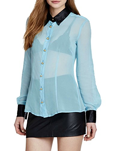 Richlulu Womens Ventilate See Though Button Down Lightweight Bodycon Club Shirt(L,Cambridge blue)
