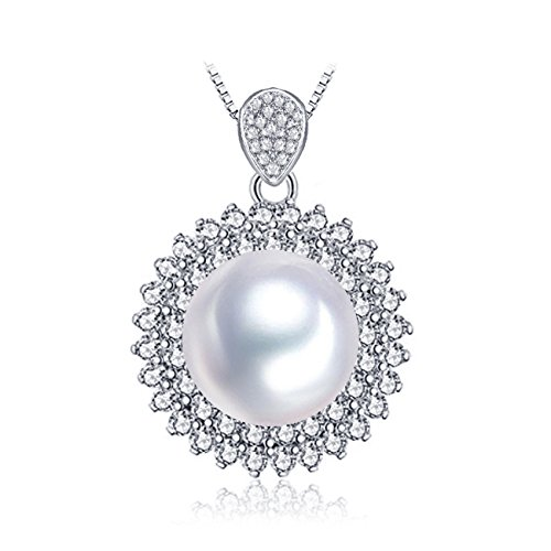 MITUO LSOOYH 14MM Round Shell Big Pearl Pendant Necklace Marquis for Women Gift (White) ()