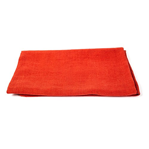 LinenMe Huckaback Linen Bath Towels (Set of 4), Orange, 39 x 55'' by LinenMe