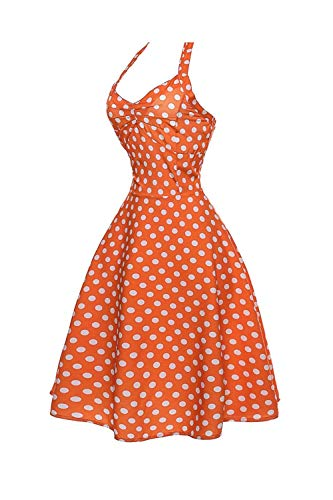 Femmes coloré S Halter Pour Polka Des 1950 Années cn Rose Soirée S Orange Taille Cocktail Uk De Dots Robe Yisaesa Pfaxd7q7