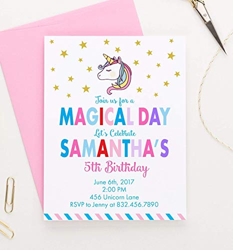 Personalized Unicorn Birthday Invitation, Unicorn Invitations, Birthday Invites for Girls, Your choice of Quantity, Age, Info and Envelope Color ()
