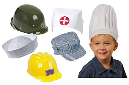 [Children's Career Hat Assortment- Army, Construction, Sailor, Nurse, Train Conductor, Chef] (Construction Worker Girl Costume)