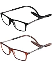 2 Pack Reading Glasses, Magnetic Adjustable Neck Hanging with Adjustable Temple for Unisex Portable Folding Front Connect Expandable Reader Glasses for Women Men Reading, Hanging Around Neck