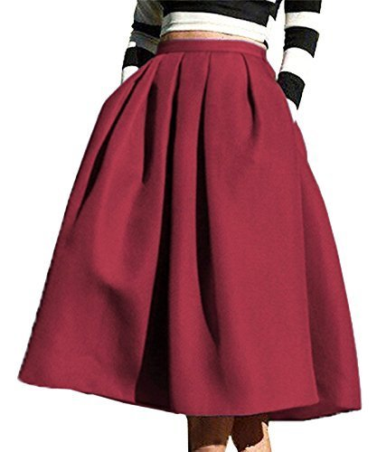 (FACE N FACE Women's High Waisted A line Street Skirt Skater Pleated Full Midi Skirt X-Large Wine Red)