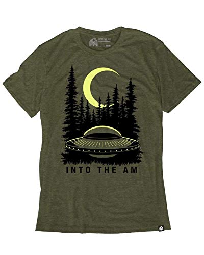 - INTO THE AM Extraterrestrial Men's Graphic Tee Shirt (Olive, Medium)