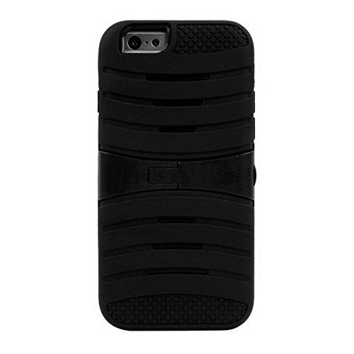 Para iPhone 4,7 pulgadas Caso, Para iPhone 6 y 6S Stripe Pattern Silicone + Plastic Combination Case con soporte (4.7 pulgadas) ( Color : Black ) Black