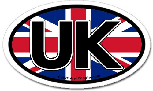 United Kingdom UK and British Flag Car Bumper Sticker Oval