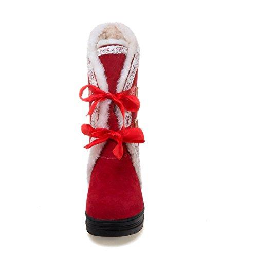 De Bottines Pour À Femmes Bout Uh Cheville Avec Fourrure 6 Et Rond 2017 Rouge Chaud Compensees Lacet Talons Boucles Cm qfETxW5W