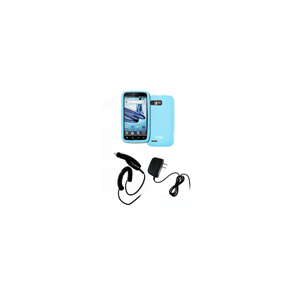 EMPIRE Motorola Atrix 2 Light Blue Silicone Skin Case Cover + Car Charger (CLA) + Home Wall Charger [EMPIRE Packaging]