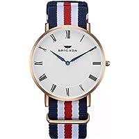 Swiss Brand Nice Fashion Minimalist Men's Dress Watch Waterproof, Rose Gold Case Business Casual Nylon Band Men's Wrist Watch